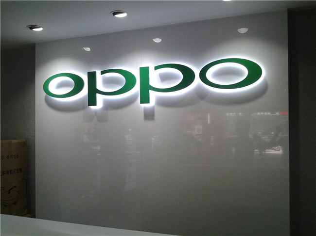 oppo背面发光字:用于店面背景墙装饰